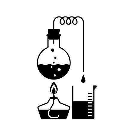 蒸留、化学、フラットなデザインの実験室の表示