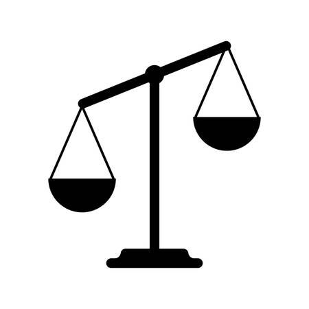 balanza de justicia: Balanzas Diseño plano, ilustración vectorial, aislados en fondo blanco