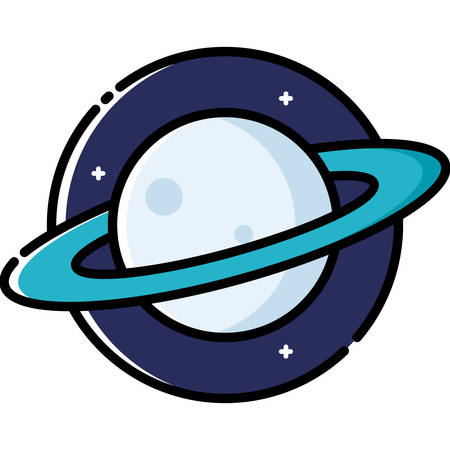 science icons: Planet Saturn, colored outline icon. Illustration