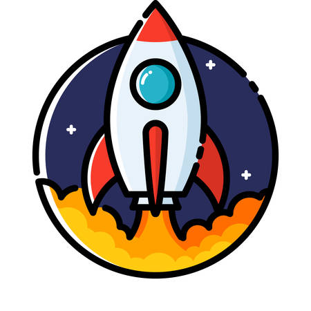 cartoon orange: Rocket launch, colored outline icon. Illustration