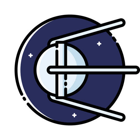 artificial satellite: Sputnik 1 was the first artificial Earth satellite, colored outline icon. Illustration