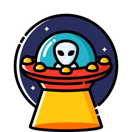 unidentified flying object: Unidentified flying object, colored outline icon.