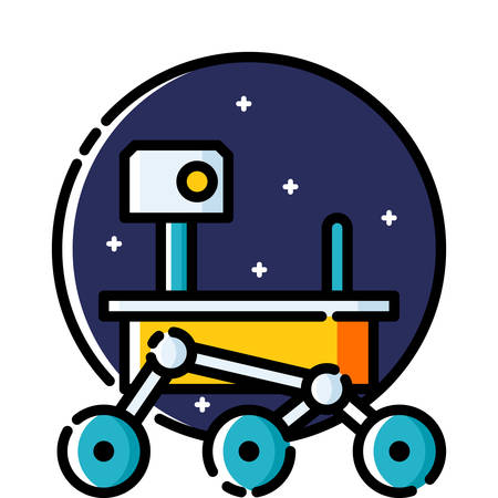 yellow lab: Mars , colored outline icon. Illustration