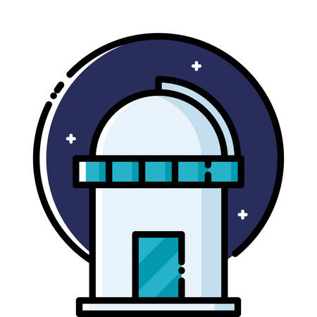 observatory: Astronomical Observatory under the stars, colored outline icon. Illustration