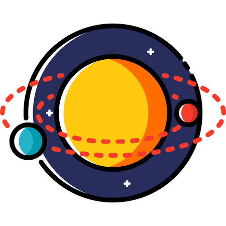 Solar system, colored outline icon.