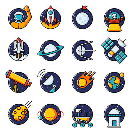 observatory: Space, colored outline icons.