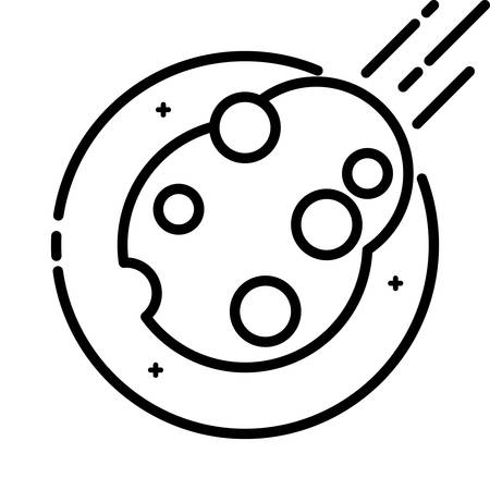 asteroid: Asteroid in Space, vector outline icon.