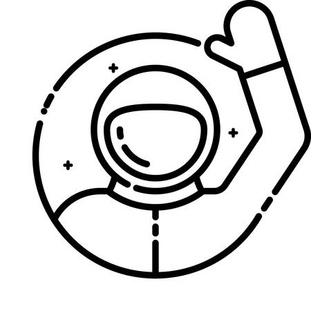 cartoon earth: Astronaut welcomes you, vector outline icon.