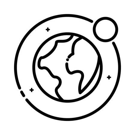 astronomie: Erde und Mond, Vektor-Kontur-Symbol. Illustration