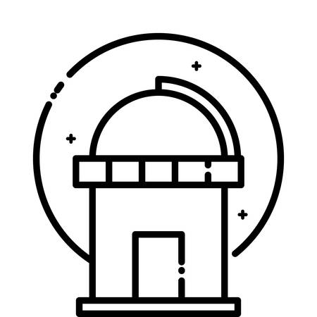 astrophysics: Astronomical Observatory under the stars, vector outline icon.