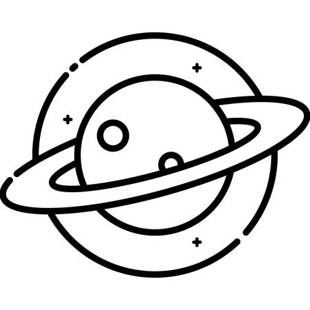 science icons: Planet Saturn in Space, vector outline icon.