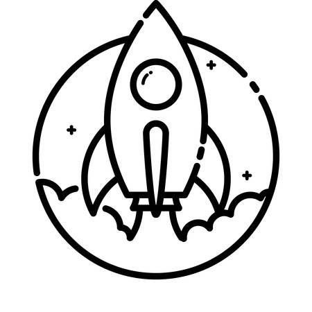 rockets: Rocket launch, vector outline icon. Illustration
