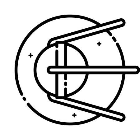 sputnik: Sputnik 1 was the first artificial Earth satellite, vector outline icon. Illustration