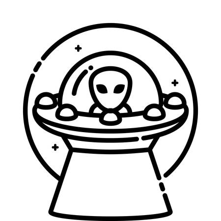 flying object: Unidentified flying object, vector outline icon. Illustration
