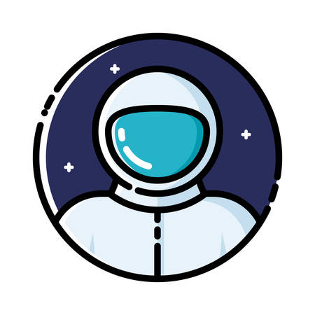 cartoon earth: Astronaut in space, vector illustration, outline icon.