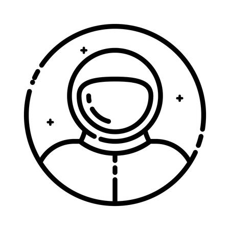 spaceflight: Astronaut in space, vector illustration, outline icon.