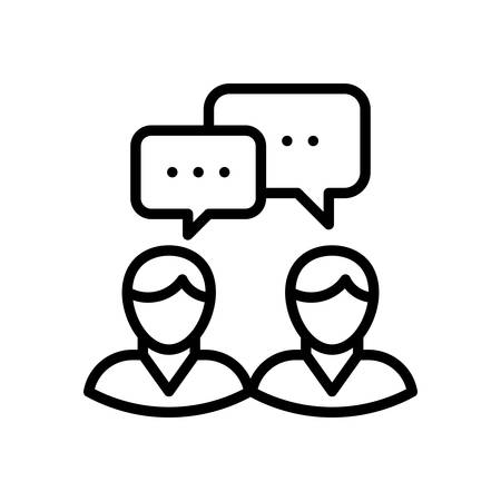 business meeting: Meeting, vector illustration, outline stroke business icon.