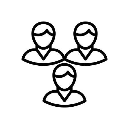 manager team: Teamwork, vector illustration, outline stroke business icon. Illustration