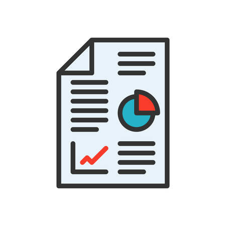 report icon: Business report, vector illustration, outline stroke business icon. Illustration