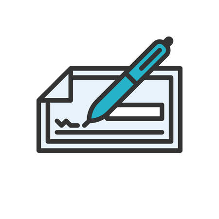 checkbook: Check. Colored scalable vector icon in outline style.