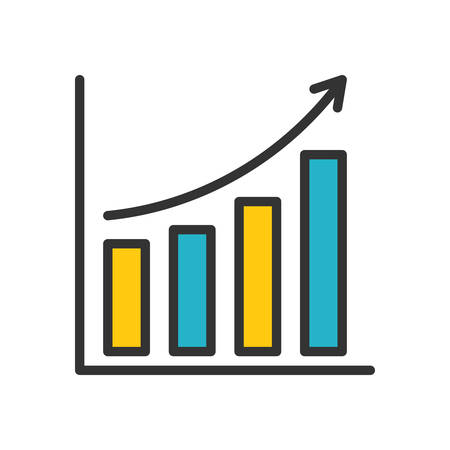 scalable: Bar Chart. Colored scalable vector icon in outline style.