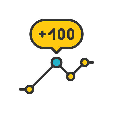 scalable: Analytics. Colored scalable vector icon in outline style. Illustration