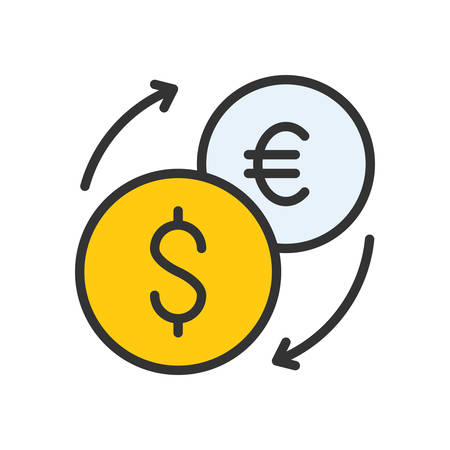 scalable: Exchange. Colored scalable vector icon in outline style.