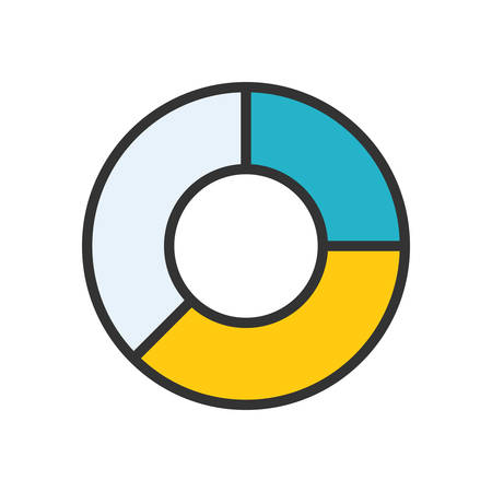 scalable: Pie Chart. Colored scalable vector icon in outline style.