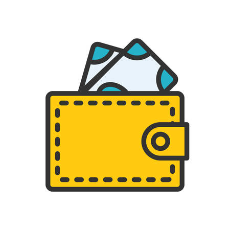 scalable: Wallet. Colored scalable vector icon in outline style.