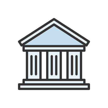 scalable: Bank. Colored scalable vector icon in outline style.