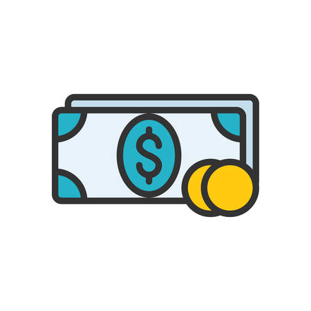 scalable: Money. Colored scalable vector icon in outline style.
