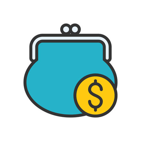 change purse: Purse. Colored scalable vector icon in outline style.