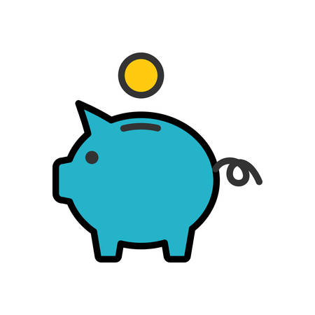 scalable: Piggy Bank. Colored scalable vector icon in outline style.