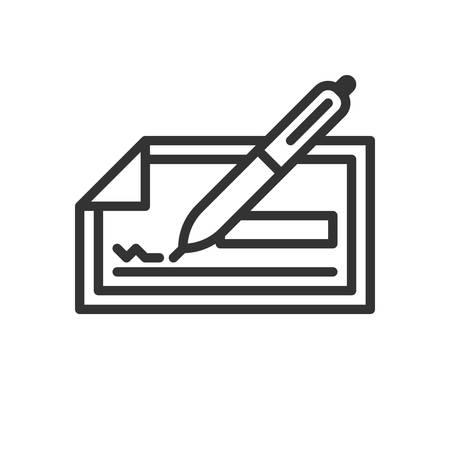 chequera: Comprobar. icono de vector completamente escalable en el estilo de esquema.