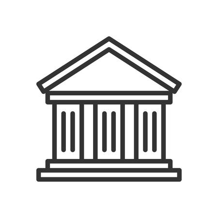 roman column: Bank. Fully scalable vector icon in outline style. Illustration