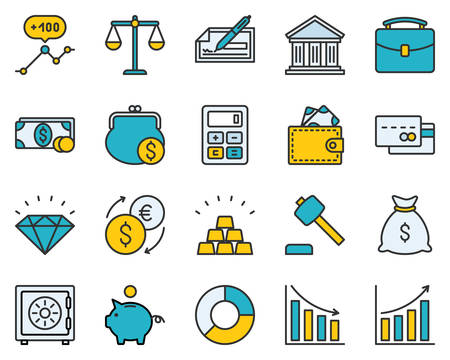 scalable set: The set contains 20 fully scalable vector icons with outline style. Illustration