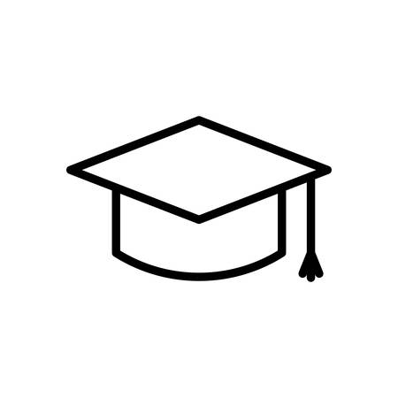 school icon: Graduation Cap fully scalable vector icon in outline style.