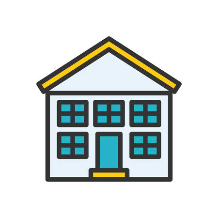 elementary school: School fully scalable vector icon in outline style. Illustration