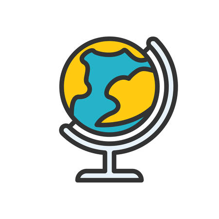 scalable: Globe fully scalable vector icon in outline style. Illustration