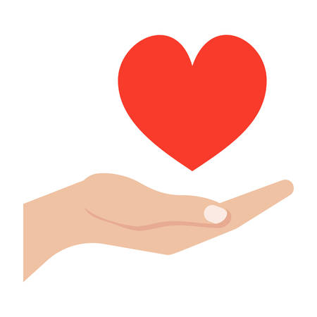 hand holding sign: Love giving concept with hand and heart. Illustration