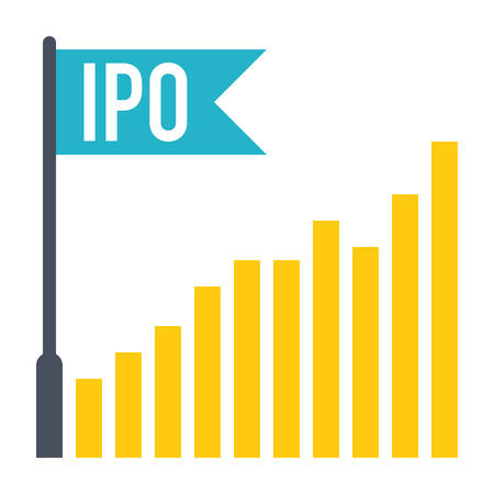 offerings: IPO concept with bar chart and flag in flat style. Illustration