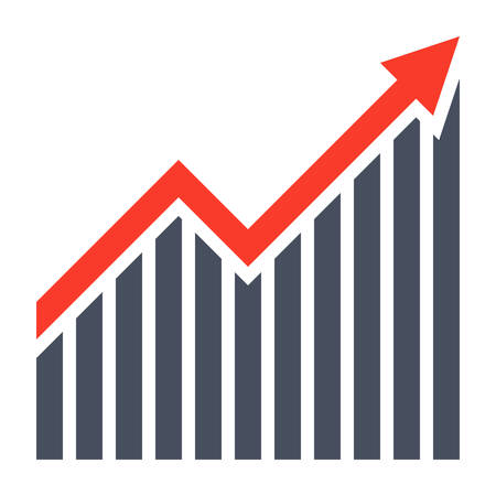Profit concept with growth chart and arrow. Vector Illustration