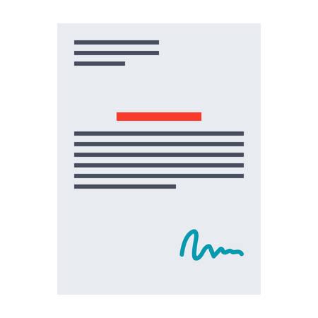 pacto: contrato de negocios ilustraci�n con la firma en estilo plano.