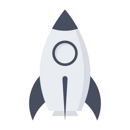 prototype: Prototype product concept with rocket in flat style.