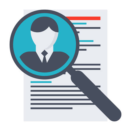 jobs people: Human resource concept with document and magnifying glass.