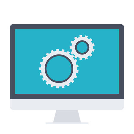 functional: Testing software concept with computer and wheel gears. Illustration