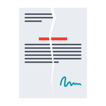 business contract: Illustration business contract with signature in flat style.