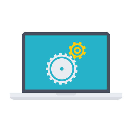 functional: Testing software concept with laptop and wheel gears.