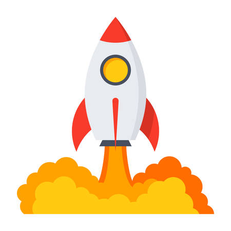rocketship: Startup business concept with rocket in flat style.