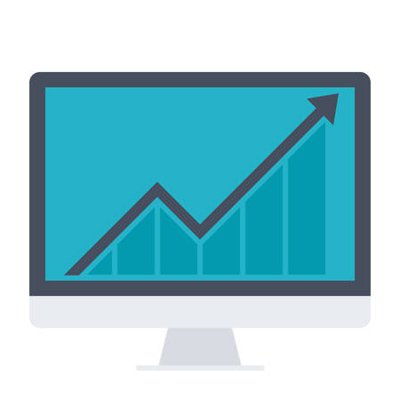 statistics icon: Business Progress Concept with computer and growth chart.